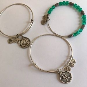 """Alex and Ani bracelets Lotus """"K"""" and Emerald Green"""